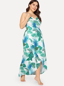 Plus Palm Print Surplice Wrap Cami Dress