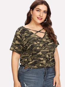Plus Criss Cross Camouflage Tee