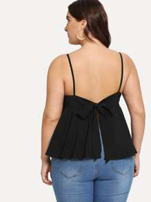 Plus Bow Tie Back Split Cami Top