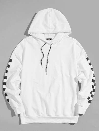 ab14d0301c8fa Guys Gingham Print Sleeve Drawstring Hooded Sweatshirt