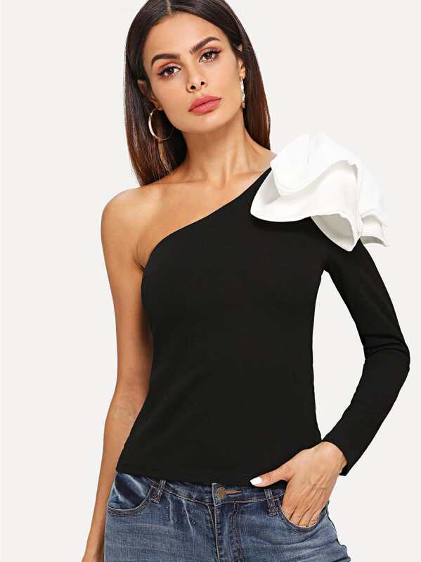 af1a1673a9ab Asymmetrical Bow One Shoulder Top | SHEIN