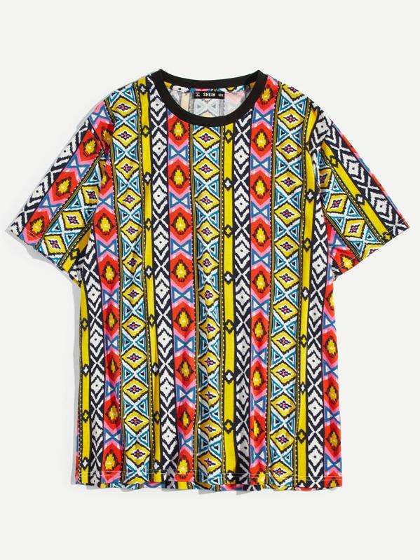 info for 2c28f e924c Männer T-Shirt mit Muster und rundem Ausschnitt