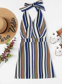 Colorful Striped Halter Dress