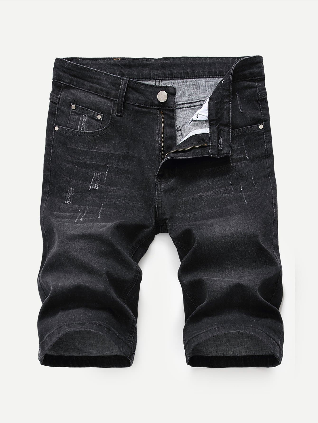 Men Plain Denim Shorts Men Plain Denim Shorts