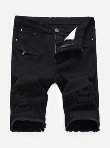 Men Zip Decoration Raw Hem Denim Shorts