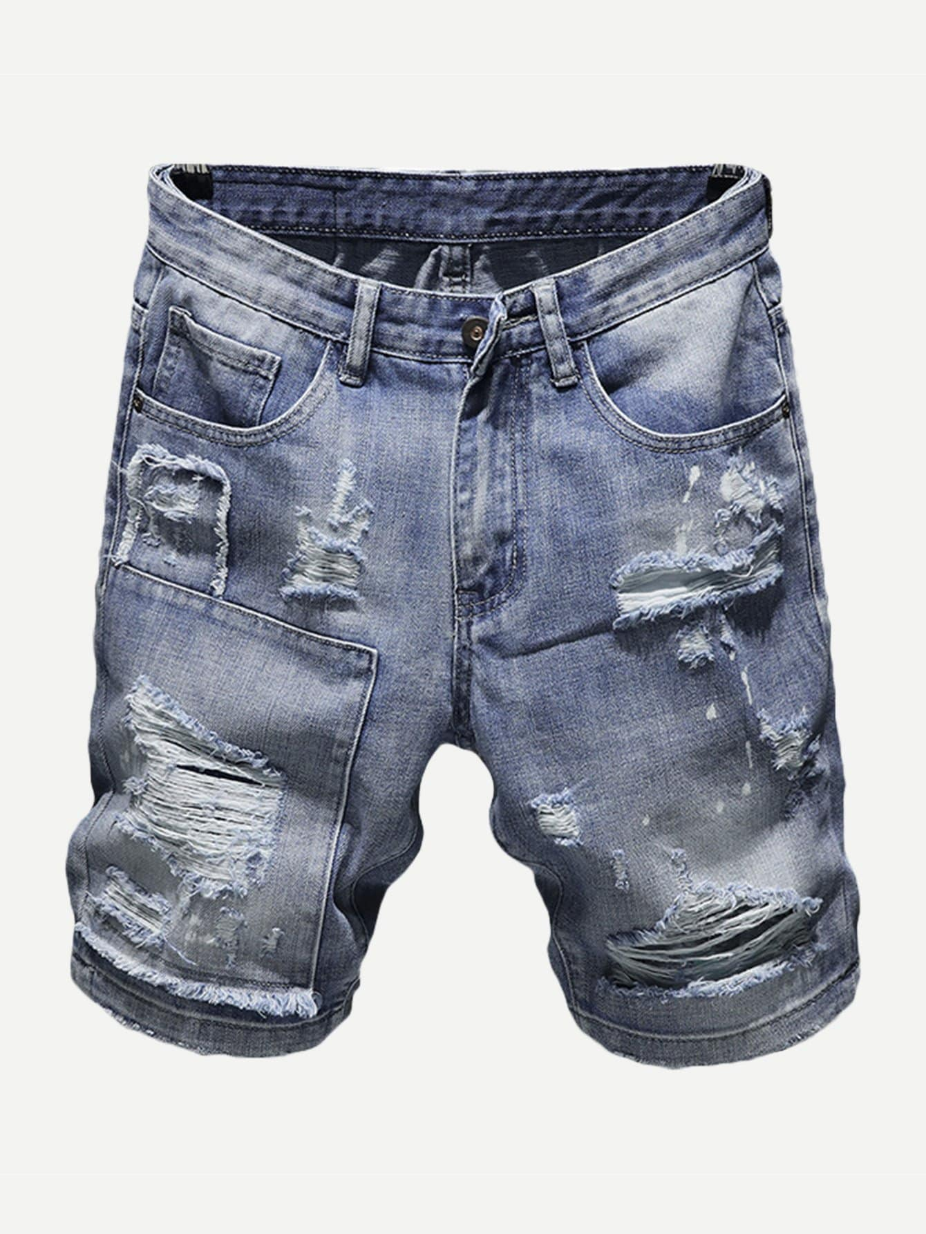 Men Destroyed Denim Shorts Men Destroyed Denim Shorts