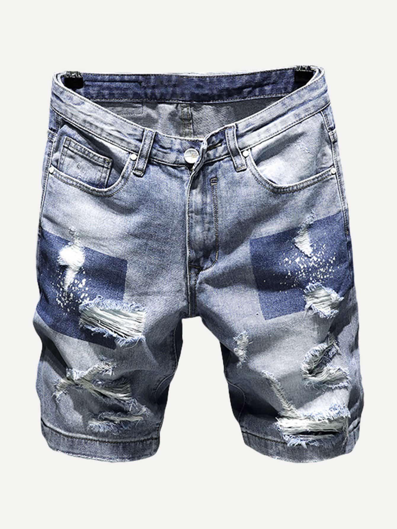 m nner zerrissene jeans shorts german shein sheinside. Black Bedroom Furniture Sets. Home Design Ideas