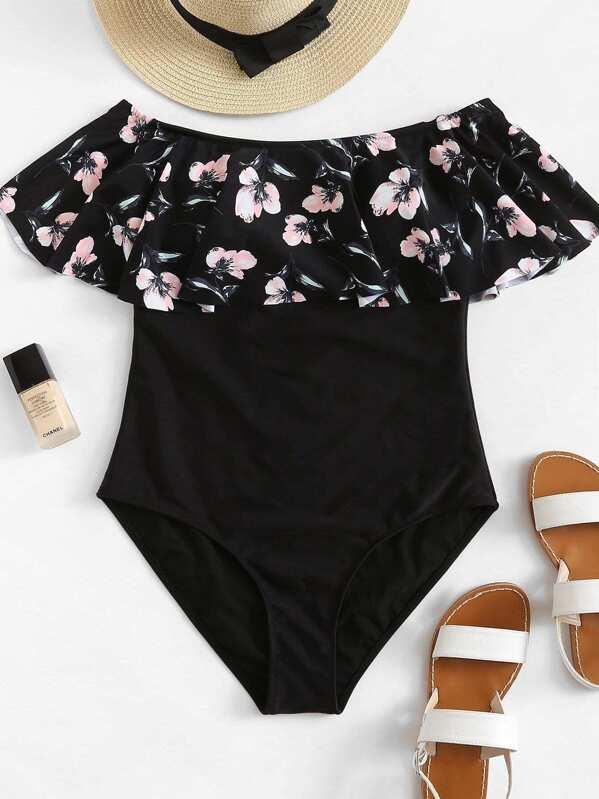 9e4bf6aa5ee Plus Flower Print Flounce One Piece Swimsuit