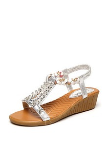 Rhinestone Detail Metallic Wedge Sandals