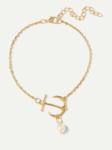 Faux Pearl Detail Ankle Chain