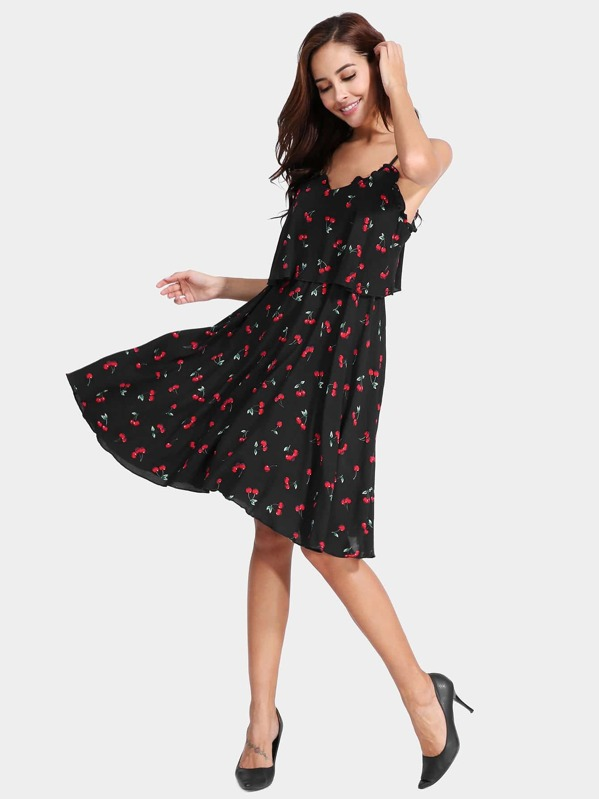 00f5c62e6e Cherry Print Frill Trim Cami Dress | SHEIN