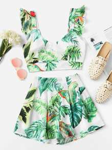 V Neck Tropical Print Top & Shorts Set