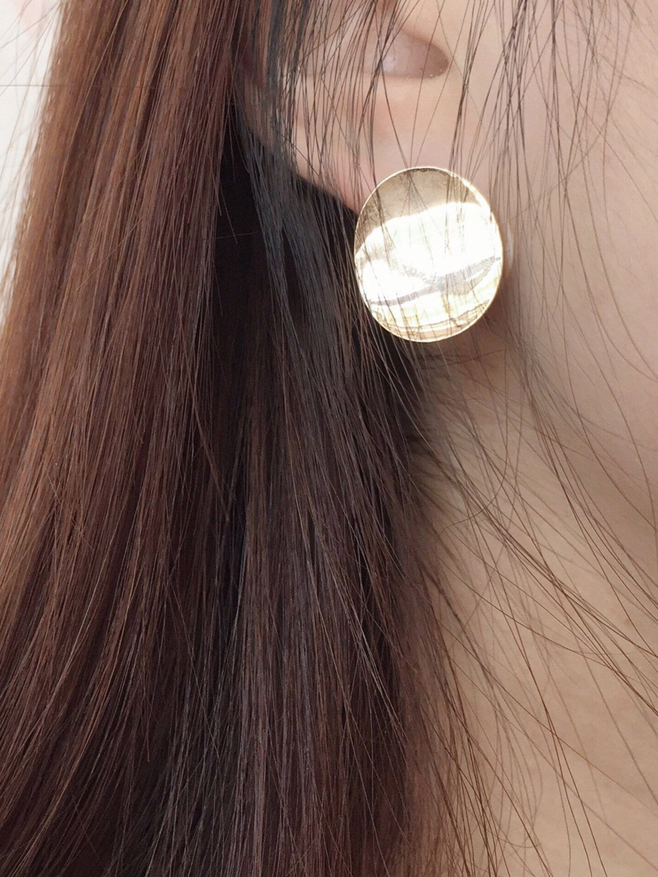 view out hoop jewelry whistles cut metallic flat stud gold large disc fullscreen lyst in save