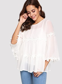 Lace Applique Flounce Sleeve Flowy Top with Cami