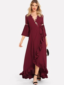 Flower Applique Asymmetrical Ruffle Hem Surplice Wrap Dress