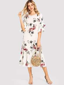 Ruffle Sleeve and Hem Floral Dress