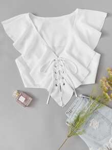 Eyelet Lace Up Solid Crop Top