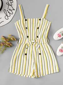 Double Button Front Striped Cami Romper