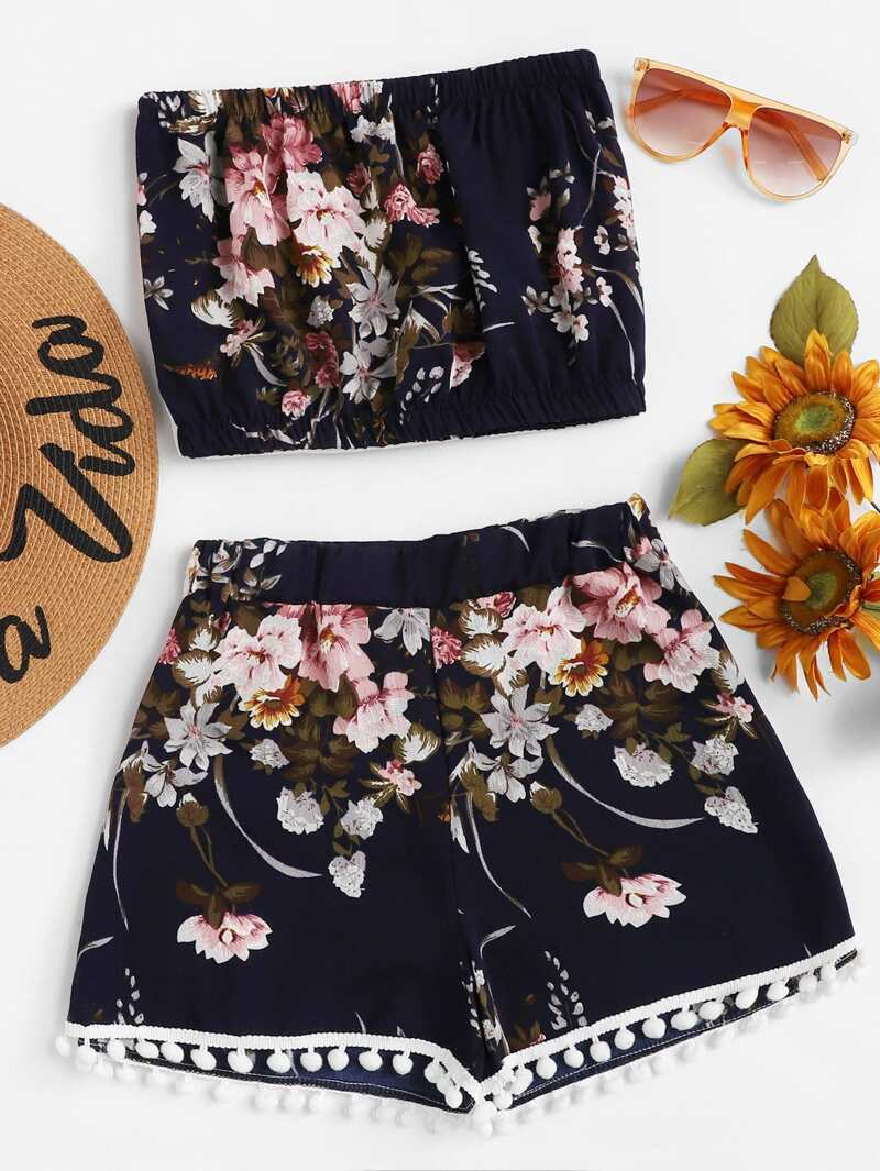 Floral Tube Top With Pom Pom Trim Shorts, Navy