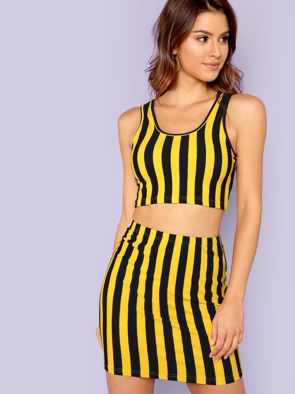 1528d86b94b5d Cheap Striped Crop Tank Top and Skirt Set for sale Australia | SHEIN