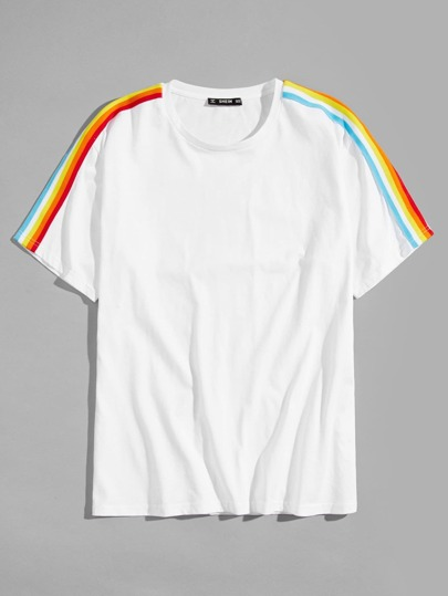 Herren Rainbow Striped Side Tee