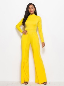 Solid Stand Collar Wide Leg Jumpsuit