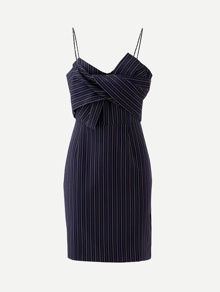 Knot Front Pinstriped Cami Dress
