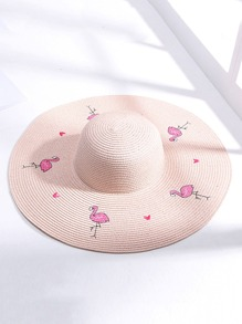 Embroidered Flamingo Straw Hat