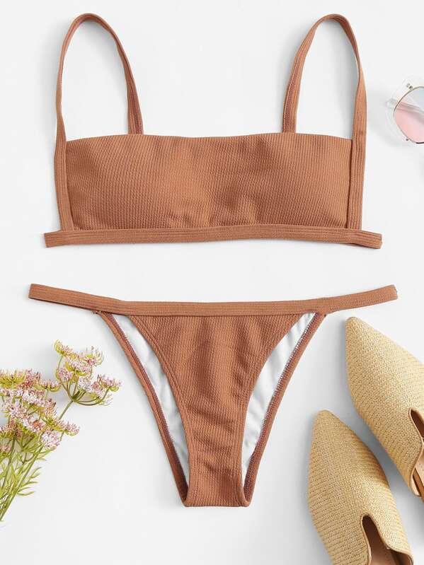 de43f824122 Rib Cami Top With Tanga Bikini Set | SHEIN