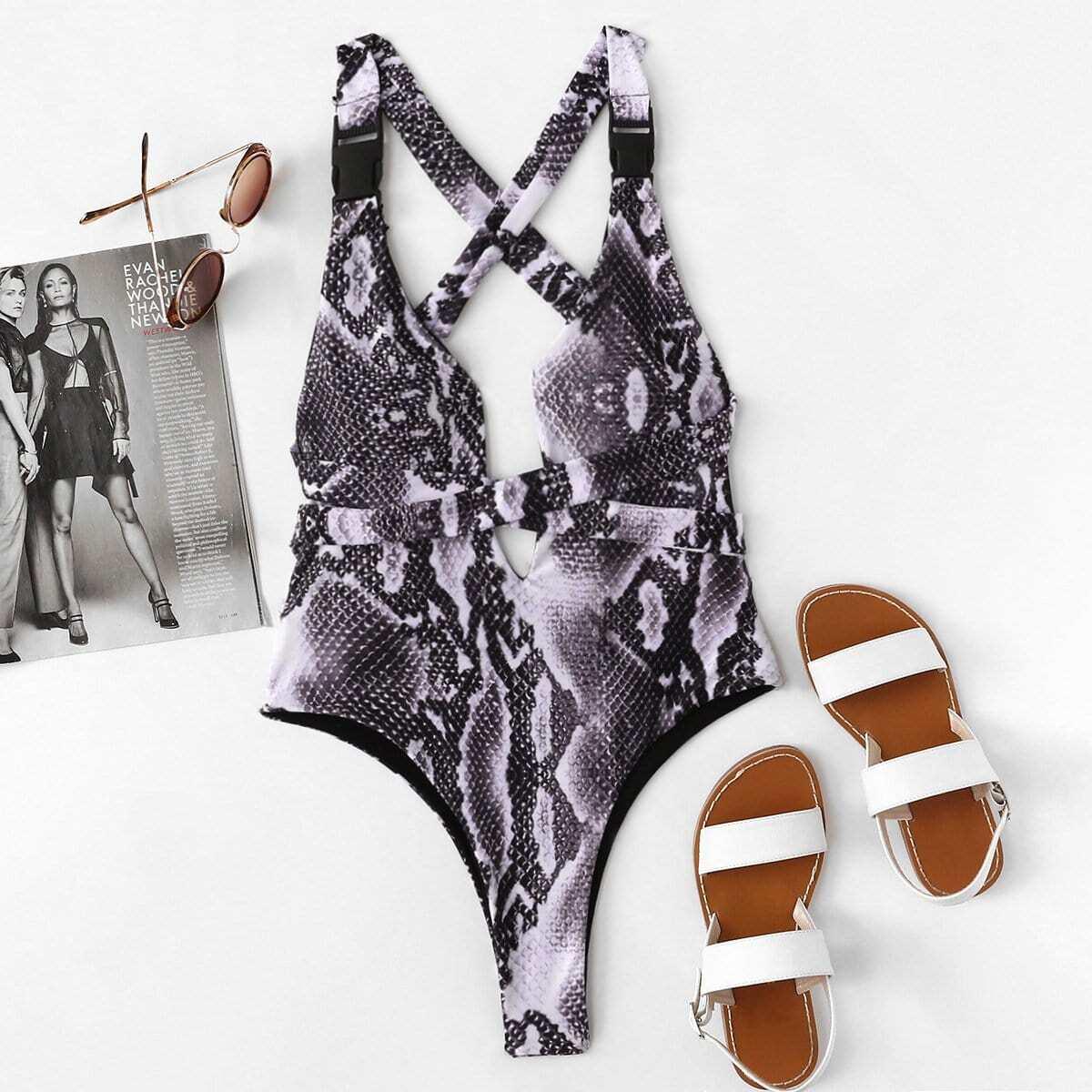 - Snake Print Criss Cross Swimsuit