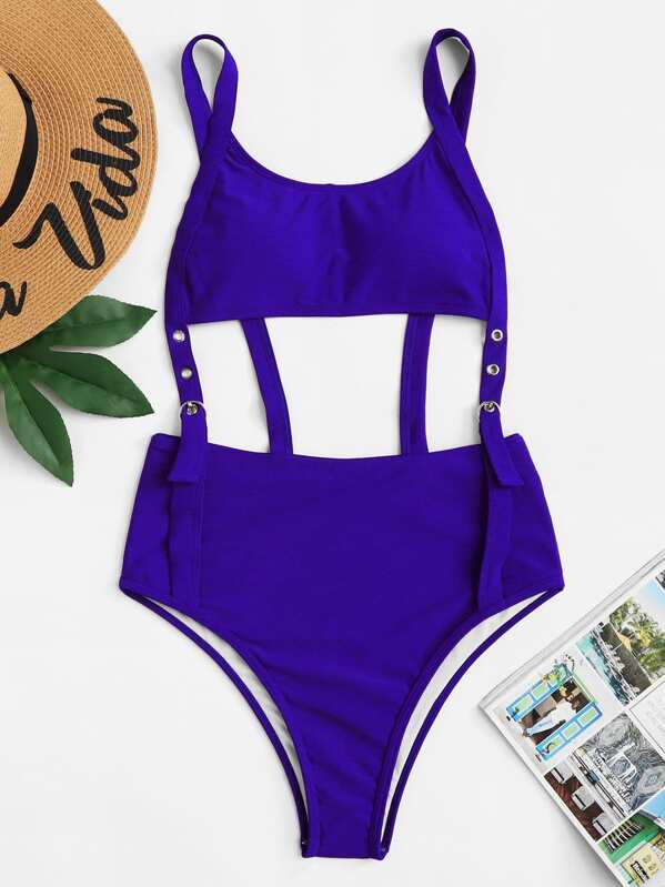 d7879f4f78 Eyelet Buckle Cut-Out One Piece Swimsuit | SHEIN UK