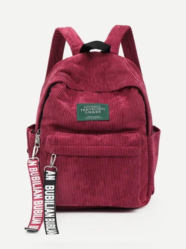 12f6a1efa072a Cord Rucksack mit Tasche und Anhänger