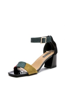 Color Block Two Part Heeled Sandals