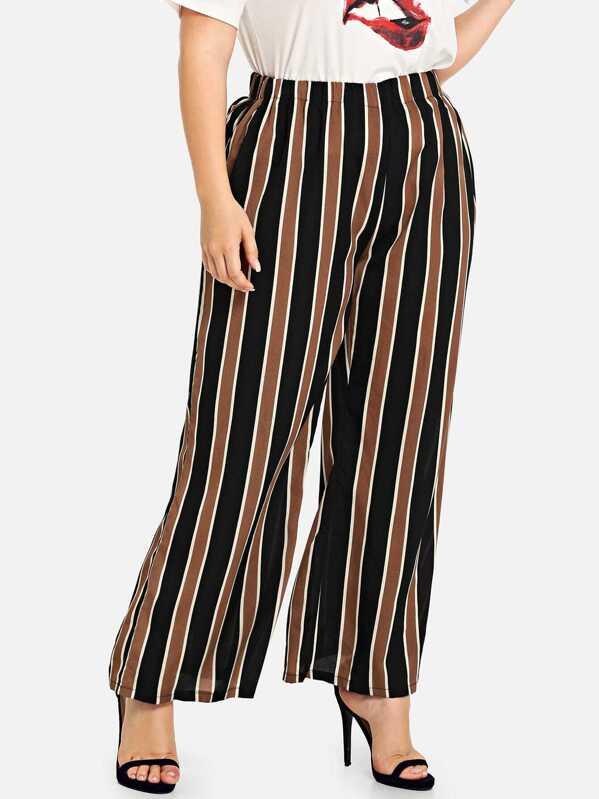 35eb604628 Pantalones anchos de rayas de talla grande