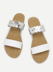 Leaf Design PU Flat Sandals