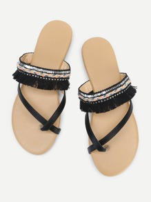 Fringe Tassel Toe Ring Flat Slippers