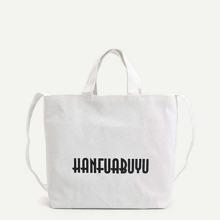 Slogan Print Tote Bag bag180620317