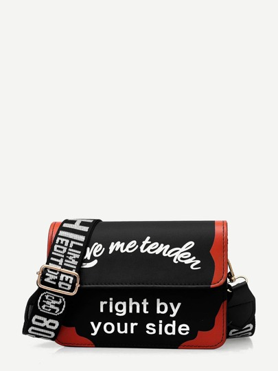 Slogan Print Flap Crossbody Bag