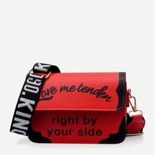 Slogan Print Flap Crossbody Bag