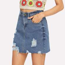 Raw Hem Ripped Denim Skirts