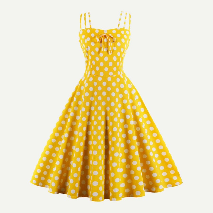 Polka Dot Knot Front Zip Back Flare Dress