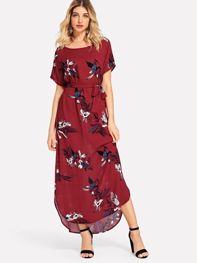 45f4c887a0f Self Tie Waist Floral Print Dress