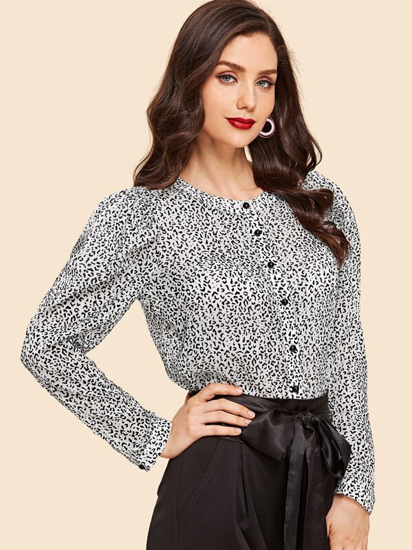 1acb3084 Band Collar Button Up Leopard Blouse | SHEIN