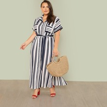 Plus Self Belted Striped Shirt Dress
