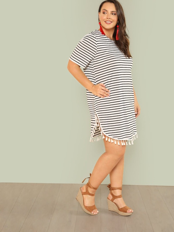 Plus Tassel Embellished Curved Hem Striped Dress