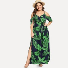 Plus Cold Shoulder Slit Hem Floral Dress