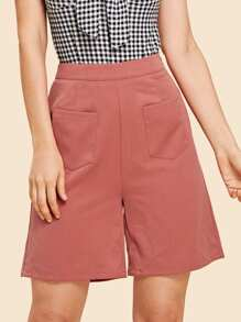 Button Closure Side Solid Shorts