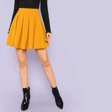 Zip Back Pleated Solid Skirts