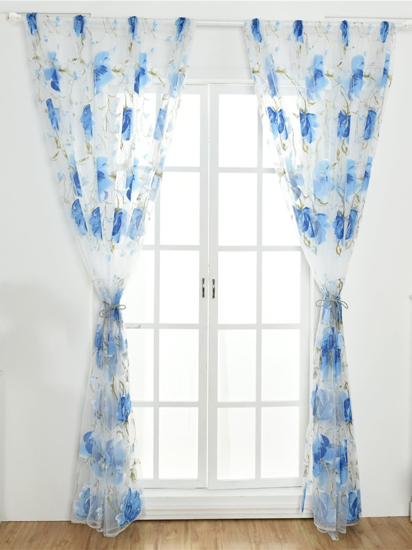 Floral Pattern Rod Pocket Sheer Curtain 1Pc