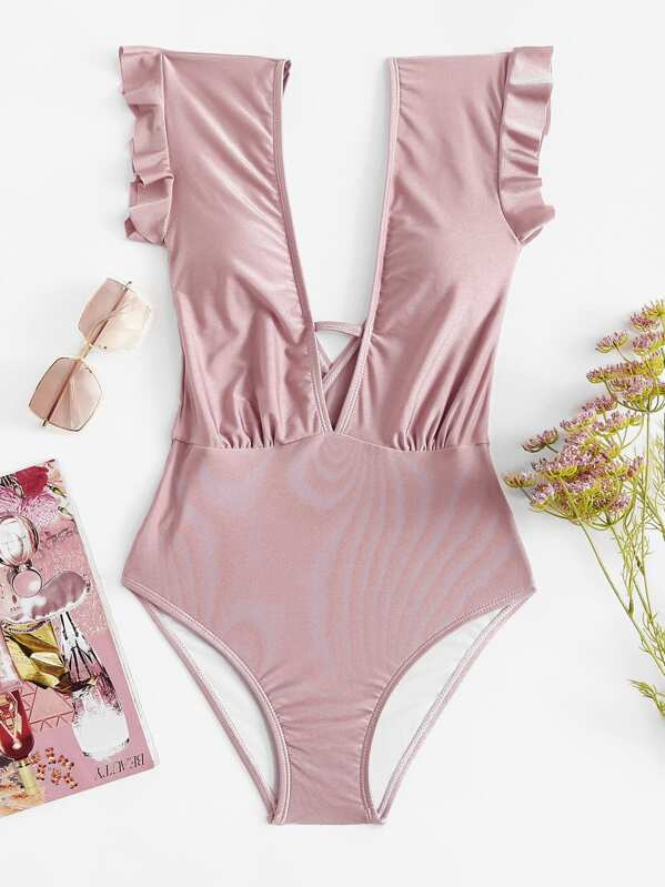 d5a057bc0f Plunging Ruffle One Piece Swimsuit | SHEIN